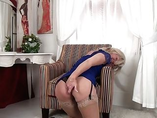 Matures Blonde In Sexy Undergarments Ellen B Is Finger Fucking Her...