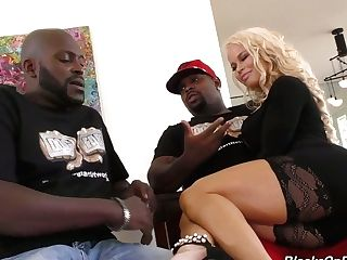 Faux Tittied Blondie Mummy Nikki Delano Is Fucked Hard By Two Black...