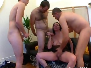 French Housewife Barbara Group-fucked