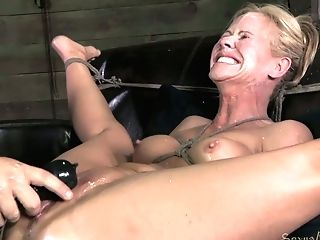 Powerfully Tied Platinum-blonde Cougar With Taut Boobies Gets...