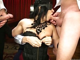 Ardent Dark Haired Lea Lexis Is Fucked By Cooker And Waiters In A...
